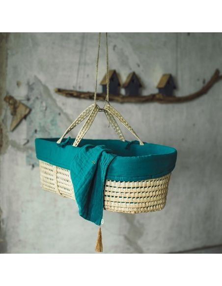 Numero 74 - Moses Basket Bed Linen teal blue - 3