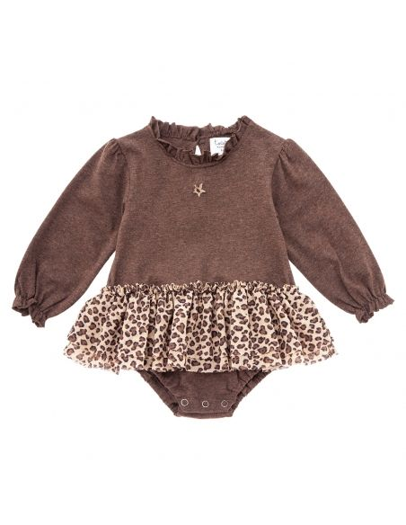 Tocoto Vintage - Ruffled neck jersey body brown - 1