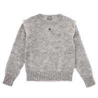 Knitted sweater with frills grey