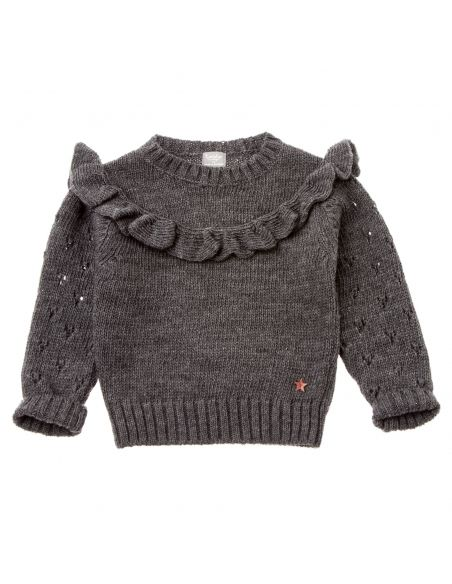 Tocoto Vintage - Knitted sweater with frill grey - 1
