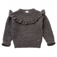 Knitted sweater with frill grey