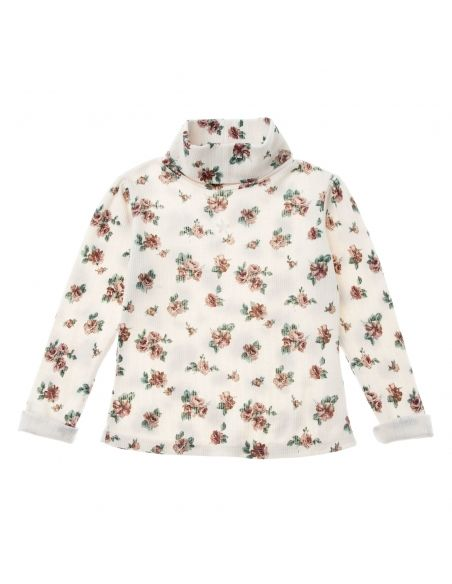 Tocoto Vintage - Flower print ribbed blouse off-white - 1