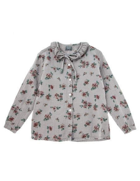 Tocoto Vintage - Flower print double ruffle grey - 4