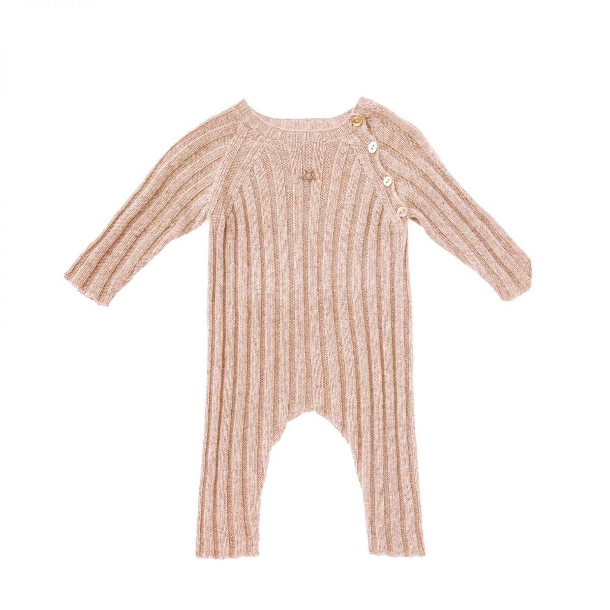 Tocoto Vintage - Knitted ribbed rompers pink - 1