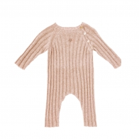Knitted ribbed rompers pink
