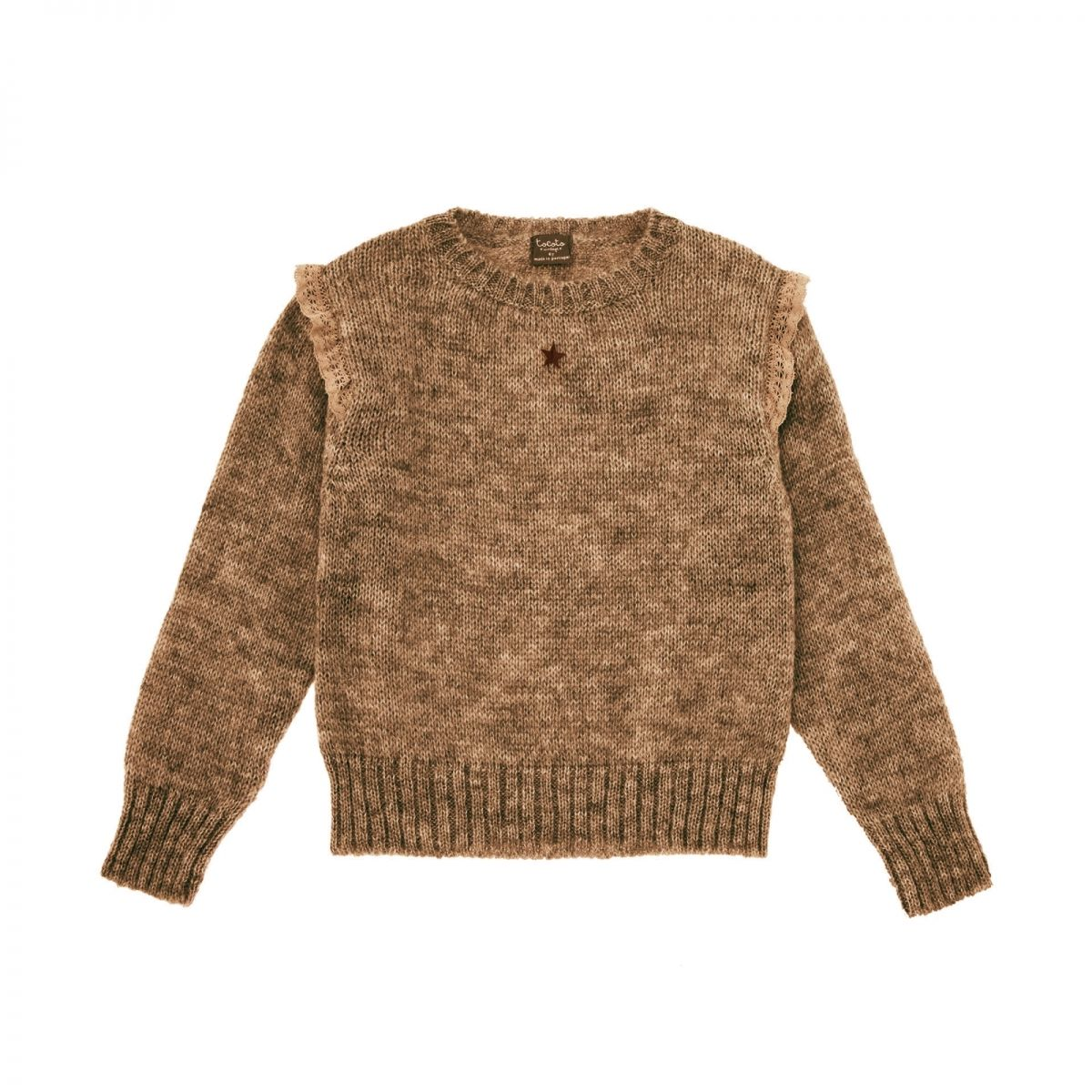 Tocoto Vintage - Knitted sweater with frills brown - 1