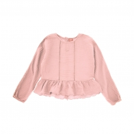 Oversize blouse with frill pink