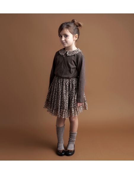 Tocoto Vintage - Ruffled neck jersey body brown - 2