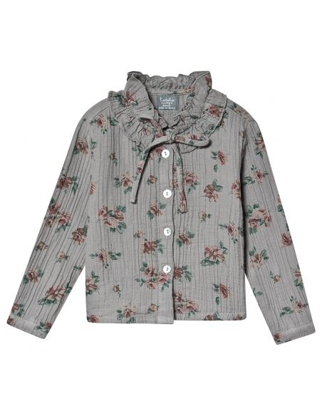 Tocoto Vintage - Flower print double ruffle grey - 1