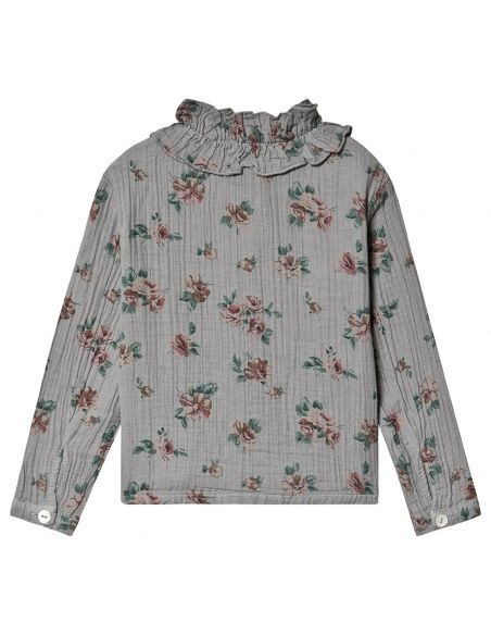 Tocoto Vintage - Flower print double ruffle grey - 3