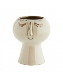 Flower Pot With Face Imprint Beige 11,5x11,5 cm