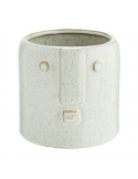 Flower Pot With Face Imprint White 8x7 cm