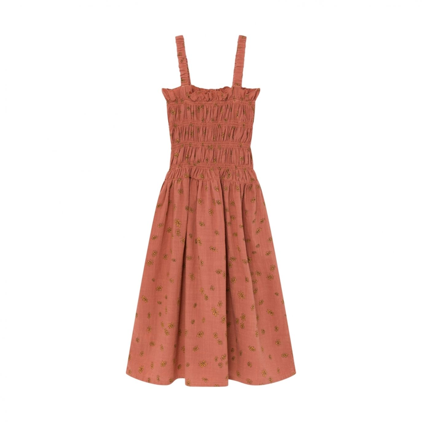 Bobo Choses - All Over Daisy Smoked Dress Brown - 1
