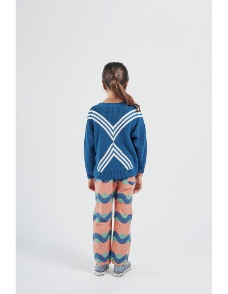 Bobo Choses - Three Stripes Knitted Jumper Blue - 4