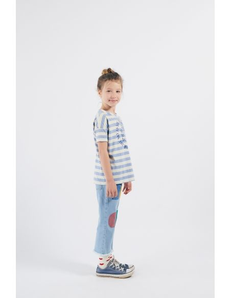 Bobo Choses - Shall You Dance Striped T-shirt White-Blue - 3