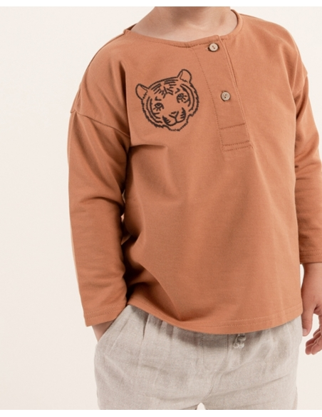 Rylee and Cru - Tiger Henley Sweatshirt Brown - 2