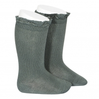 Knee Socks With Lace lichen green