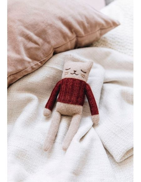Main Sauvage - Kitten Soft Toy With Rose Overalls - 2