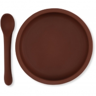 Bowl & Spoon Silicone Set Mocca