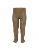 Wide Ribbed Cotton Tights Tobacco