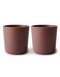 Mushie - Set of cups for self learning maroon - 1