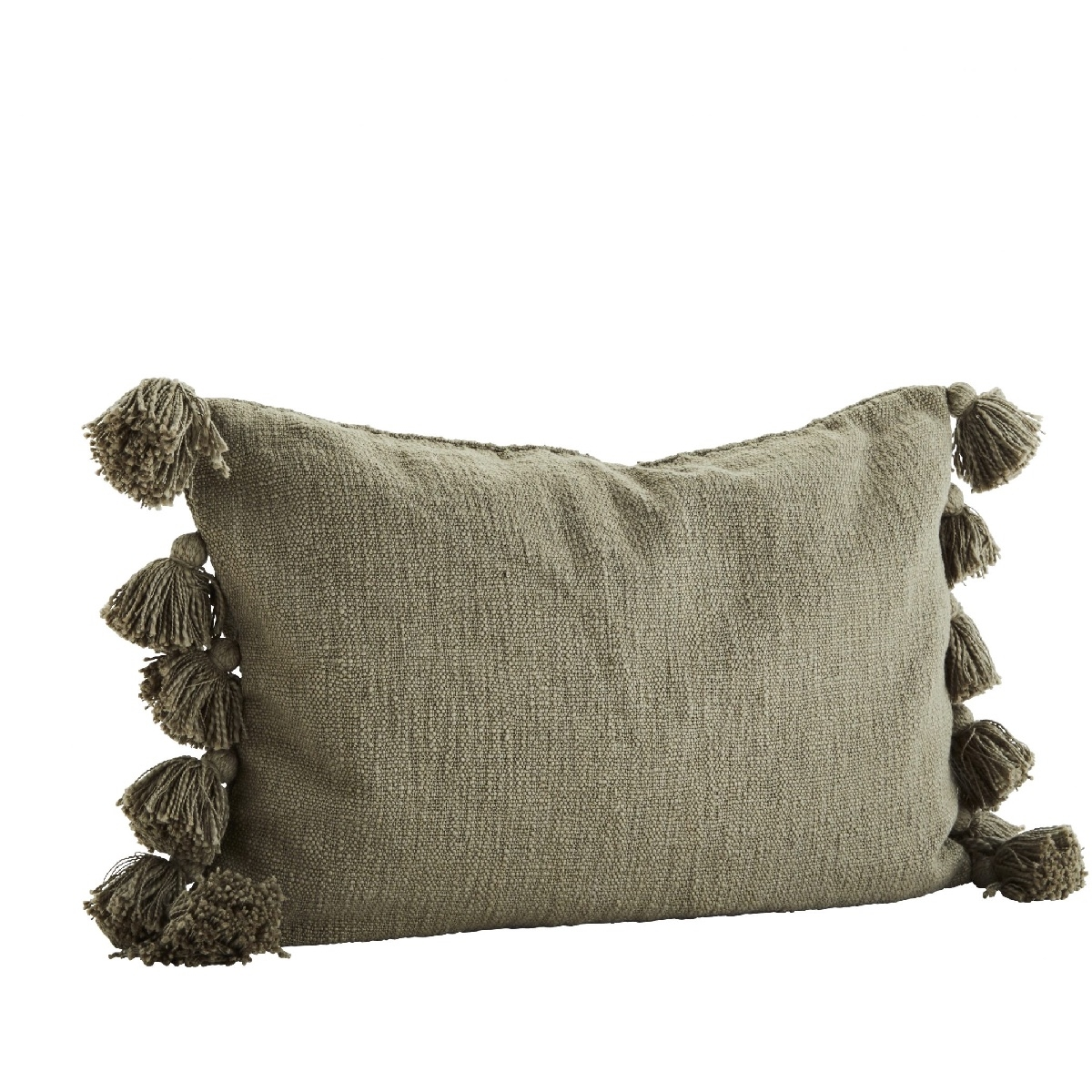 Cushion cover with tassels green