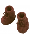 Baby bootees with ribbon cinnamon melange