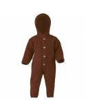 Hooded overall with buttons cinnamon melange