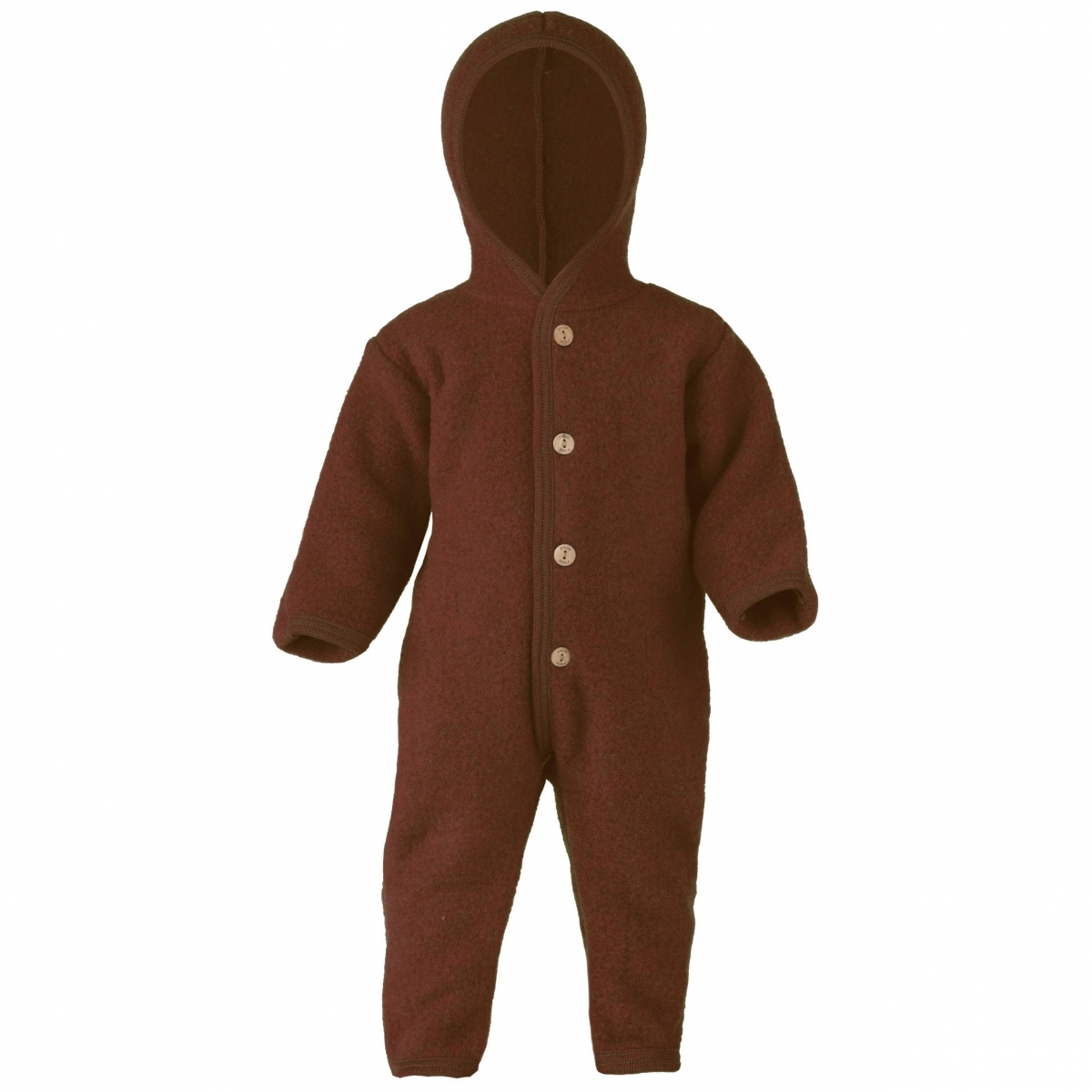 ENGEL - Hooded overall with buttons cinnamon melange - 1