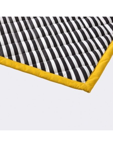 Ferm LIVING - Koc Striped Quilted czarny - 2